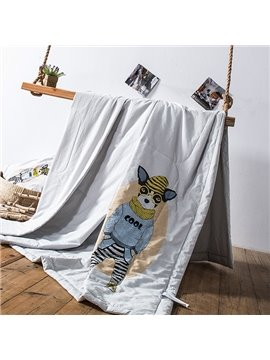 Adorable Cartoon Dog Print Gray Cotton Quilt