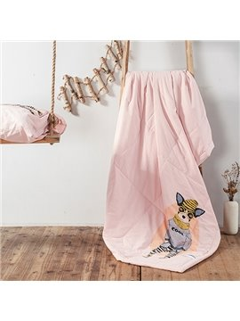 Stylish Cartoon Dog Print Pink Cotton Quilt