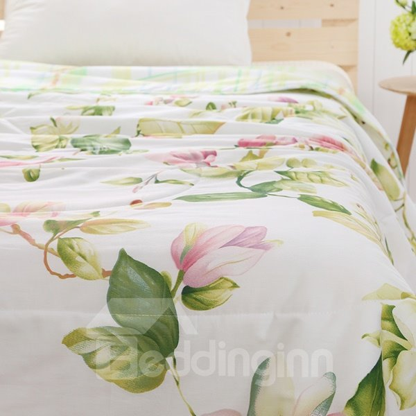 Fresh Style Elegant Cyclamen Print Cotton Quilt