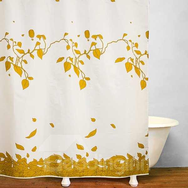 Golden Fallen Leaves Print Bathroom Shower Curtain