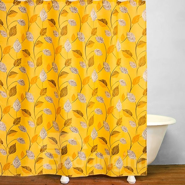Stunning Golden Leaves of Orange Tree Print Bathroom Shower Curtain