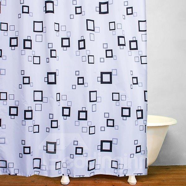 Concise Black Square Frame Print Bathroom Shower Curtain
