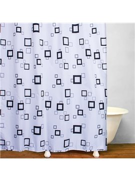 Concise Black Square Frame Print Bathroom Shower Curtain