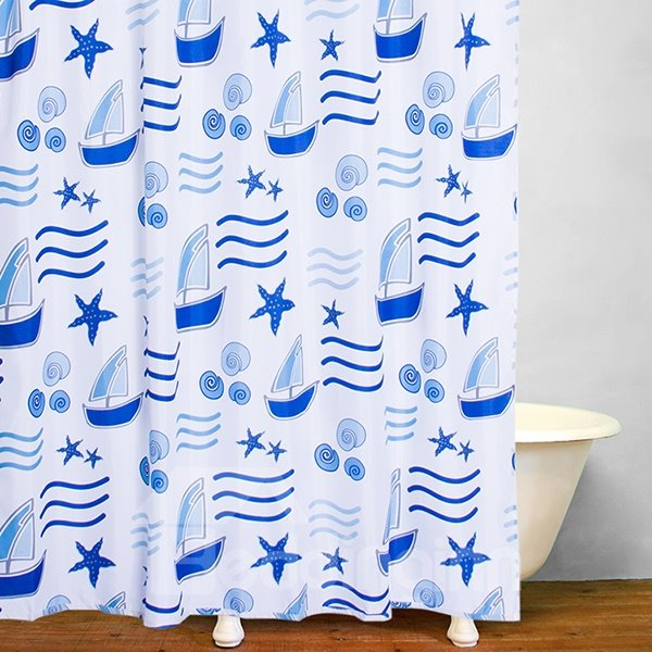 Stick Figures Sailboat and Waves Print Bathroom Shower Curtain