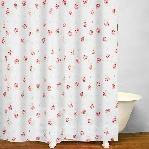 Romantic Red Rose Print Bathroom Shower Curtain