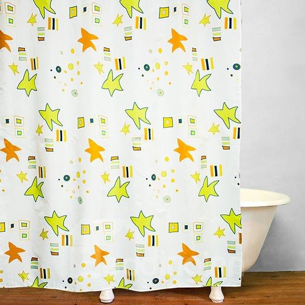 Cute Green and Yellow Stars Print Bathroom Shower Curtain