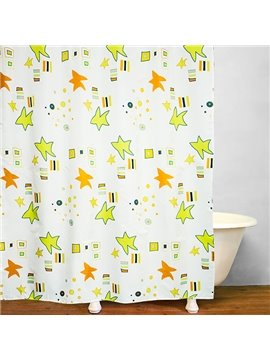 Cute Green and Yellow Stars Print Bathroom Shower Curtain