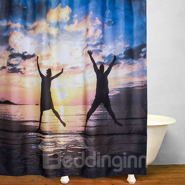 Lovers Jumping in the Sunset Print 3D Bathroom Shower Curtain