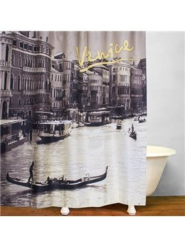 Venice City Views Print 3D Bathroom Shower Curtain