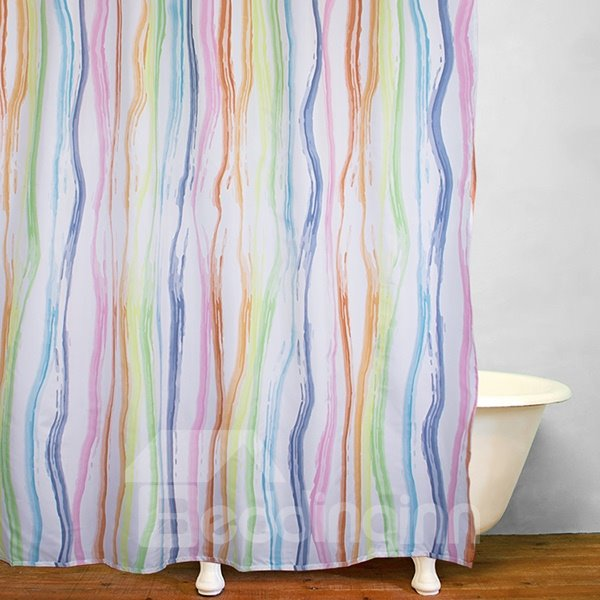 Rainbow Colored Wavy Stripes Decor Shower Curtain