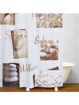 Modern Concise Pebble Print 3D Bathroom Shower Curtain