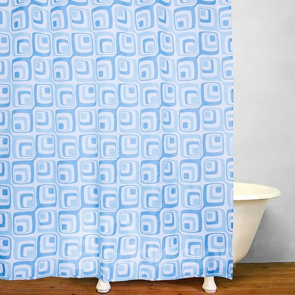 Bathroom Decor Blue Squares Print Shower Curtain
