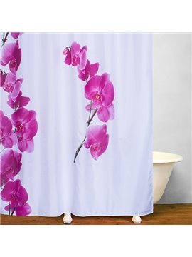 Watercolor Fringed Iris Polyester Printing Shower Curtain