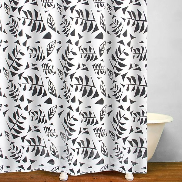 Concise Stick Figures Black Leaves Polyester Shower Curtain