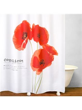 Designer Watercolor Red Flowers Bathroom Shower Curtain