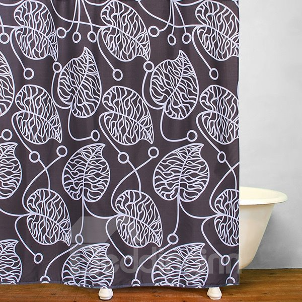 Stick Figures Leaves Grey Polyester Shower Curtain