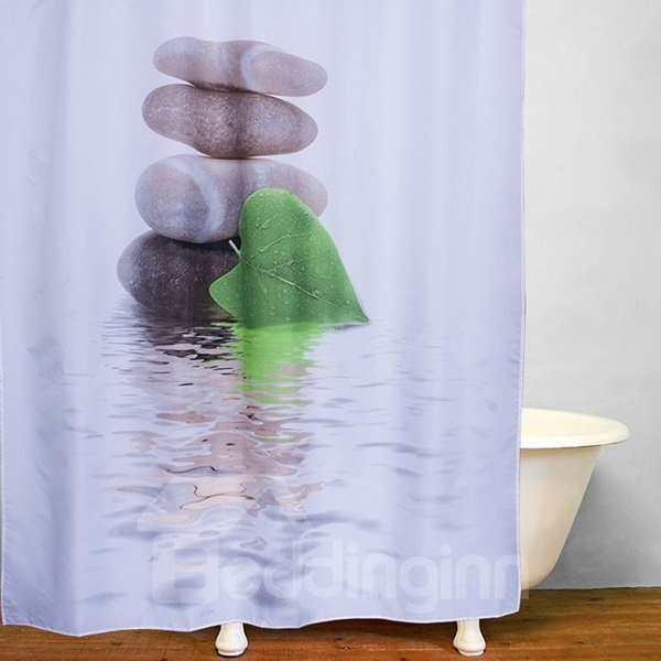 Leaf in front of Pebbles Tower Print 3D Bathroom Shower Curtain
