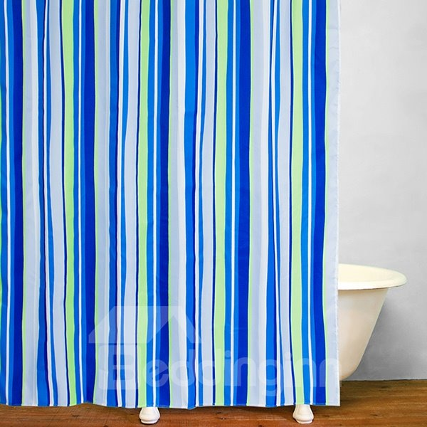 Bathroom decor blue and green stripes shower curtain for Blue and white striped bathroom accessories