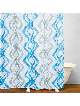 Mediterranean Blue Vertical Stripes Shower Curtain