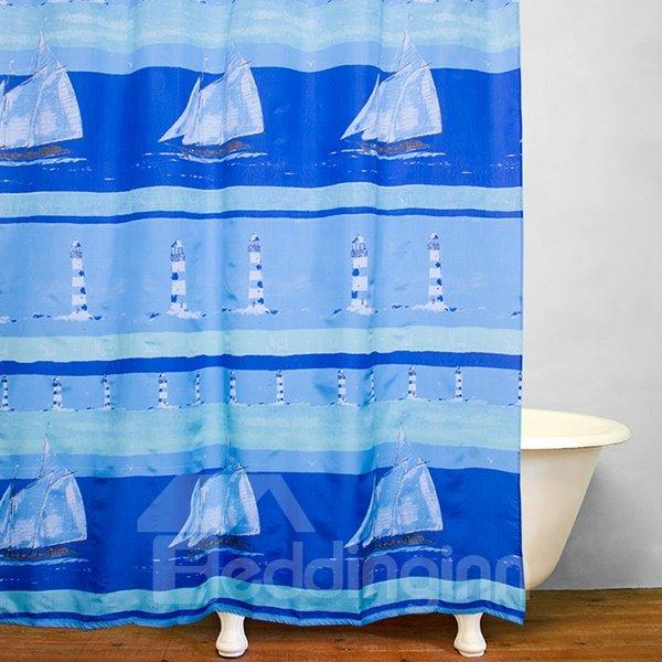 Thicken Waterproof Blue Galleon Pattern Shower Curtain