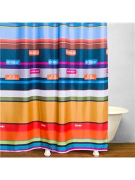 Colored Stripes Bathroom Decor Waterproof Shower Curtain
