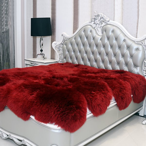 Fancy and Cozy Sheepskin Vibrant Red Blanket 12212341