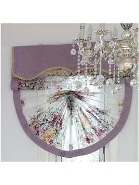 European Romantic Purple Peony Printing Voile Roman Shades
