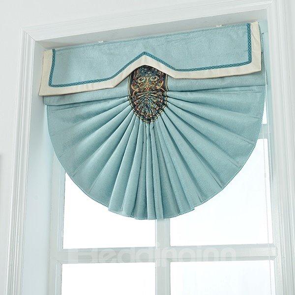 Modern Concise Mediterranean Style Blue Chenille Roman Shades