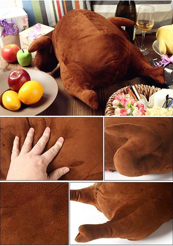 Adorable Vivid Turkey Shape Design Plush Throw Pillow