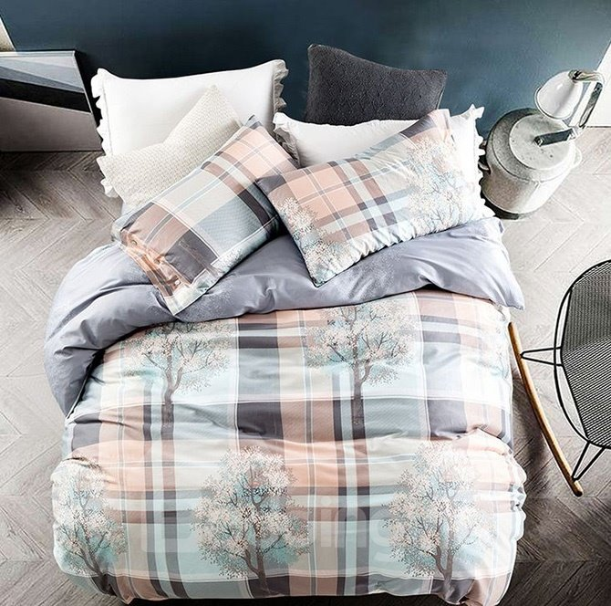 Classic Plaid and Tree Print 4-Piece Cotton Duvet Cover Sets