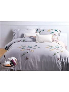 Colorful Paper Crane Print White 4-Piece Cotton Duvet Cover Sets