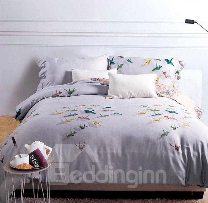 Colorful Paper Crane Print White 4-Piece Cotton Duvet Cover Sets