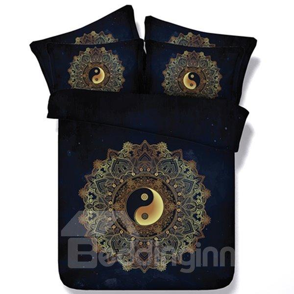Mysterious Tai Chi Icon Print Two Pieces Pillow Case