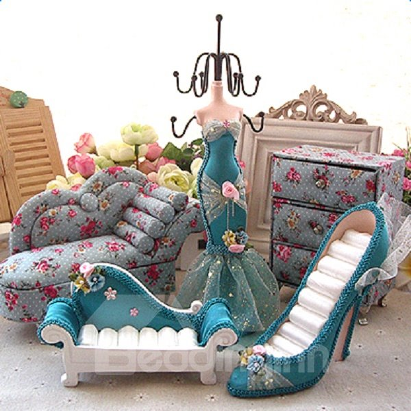 Exquisite Fabric Five Shapes Jewelry Display Rack Desktop Decoration