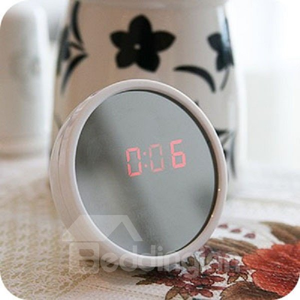 Creative Cute White Multifunction Mirror and Clock Desktop Decoration