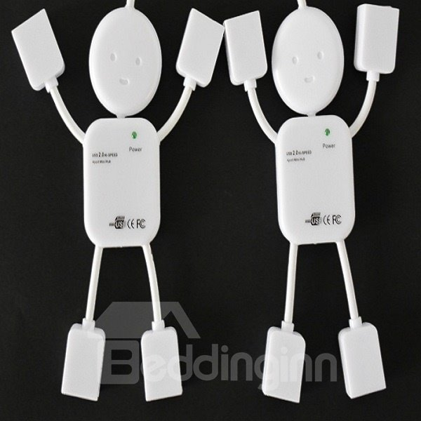 Modern Design White Person Shape 4 Interface Laptop USB Extension