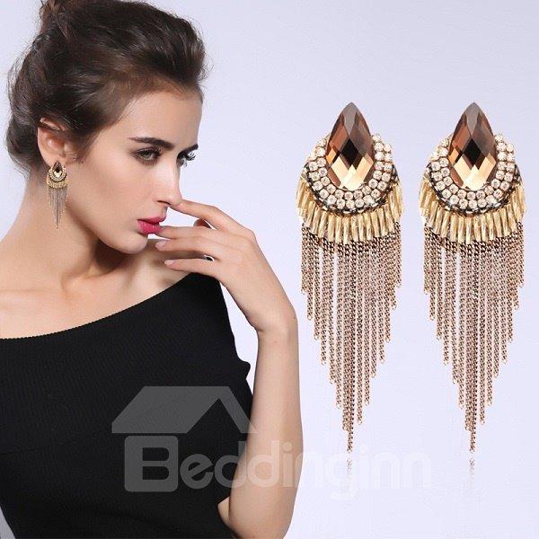 Elegant Fashion Crystal Tassel Earring Birthday Gift