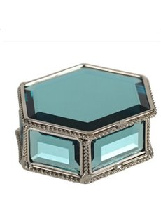 Gorgeous Bright Blue Crystal Hexagon Jewelry Box Desktop Decoration