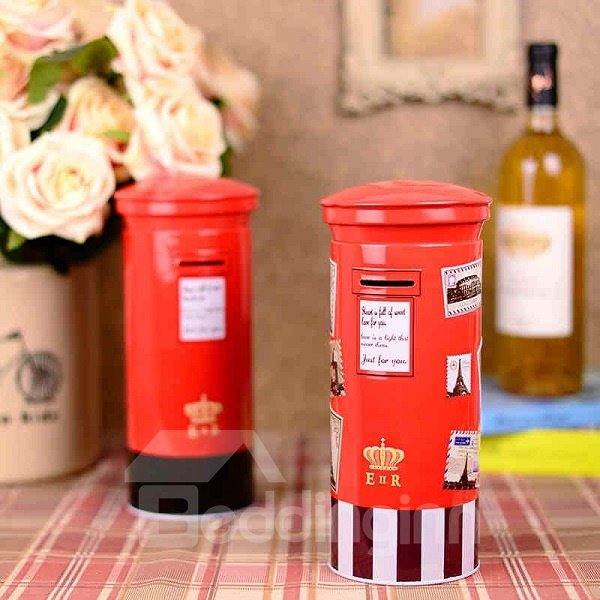 Red Simple Iron European Style Mailbox Shape Saving Pot