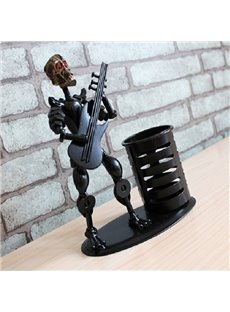 Creative Black Human Skeleton and Guitar Shape Pen Holder
