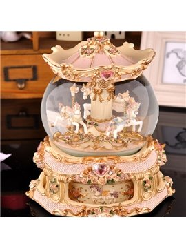 Golden Luxury Carousel Crystal Ball Music Box