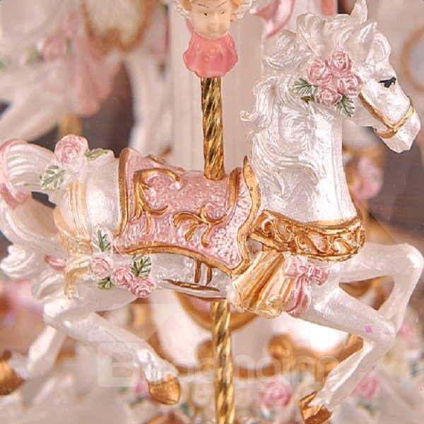 Golden Luxury Carousel Crystal Ball Music Box