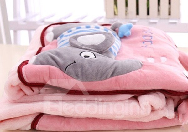 Multifunctional Lovely Elephant Pattern Dual Use Throw Pillow and Blanket