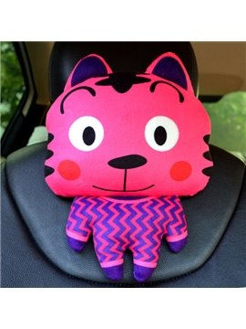 Cute And Funny Cartoon Tiger Plush Material Car Pillow