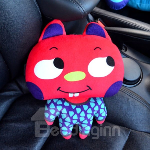 Interesting And Cute Bared Teeth Cartoon Red Rabbit Car Pillow