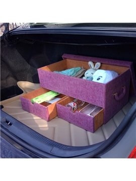 Lovely Design Style With Three Drawer High Capacity Leather Trunk Organizer