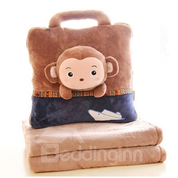 Cute Pillows And Blankets : Super Cute Brown Monkey Pattern Dual Use Throw Pillow and Blanket - beddinginn.com