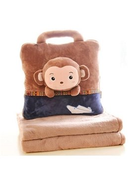 Super Cute Brown Monkey Pattern Dual Use Throw Pillow and Blanket
