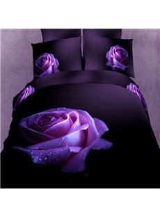 Vivid Purple Rose 3D Printed Cotton 2-Piece Pillow Cases