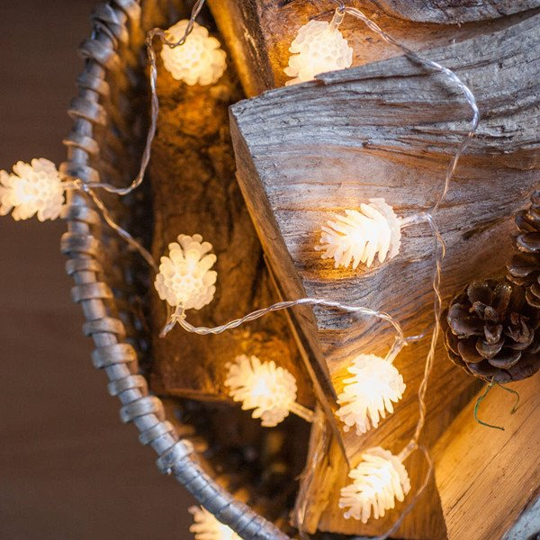 10 Meter Indoor Warm White LED Pinecone Fairy Lights